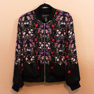INC Silky Floral Bomber Jacket
